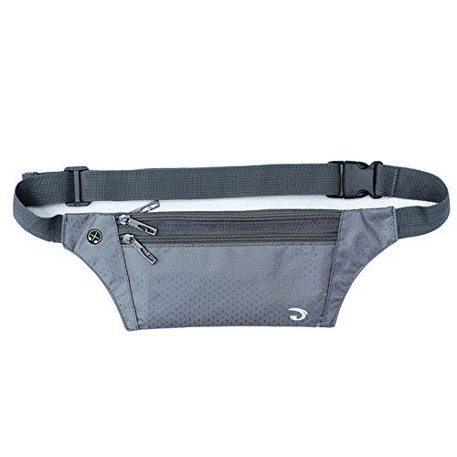 (Ultrathin Waterproof Running Nylon Stealth Small Running Travel Waist Bag Gray)