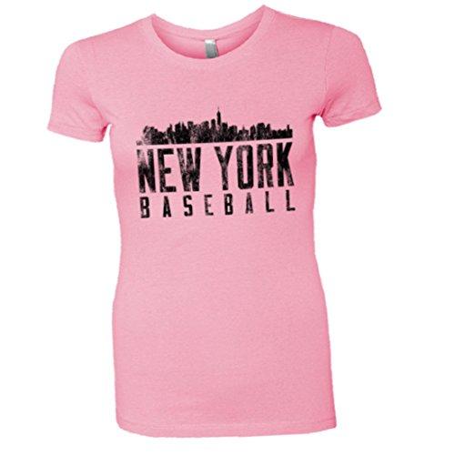 Womens New York NY Baseball Yankees Mets Skyline HQ Tee-Pink-XL