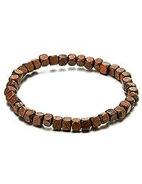 Mens Womens Small Brown Wood Beads Bracelet, 5mm Tibetan Beads Buddhist Prayer Mala, Stretchable