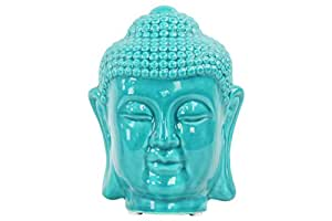 Urban Trends Ceramic Buddha Head with Rounded Ushnisha, Gloss Turquoise