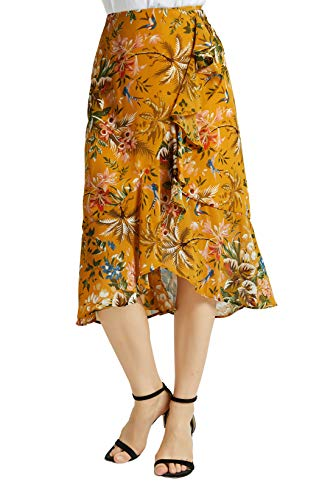 Tronjori Womens A Line Floral Print Midi Skirt with Ruffle on The Front(M, Yellow -
