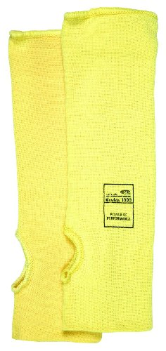 MCR Safety 9372T Kevlar Regular Weight 36 Gauge Plain Sleeve with Thumb-Slot, Yellow, 12-Inch (Kevlar Yellow Sleeve)