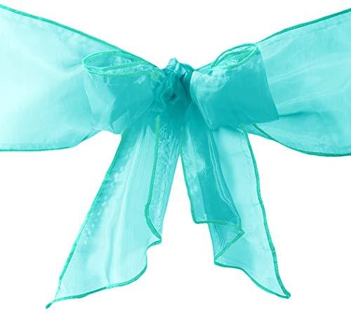 LA Linen 100-Pack Organza Sashes Chair Bows, Tiffany