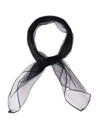 HatToSocks Soft and Light Feel Square Chiffon Neck Scarf Retro Pinup Hair Scarf for Girls Women (Black)