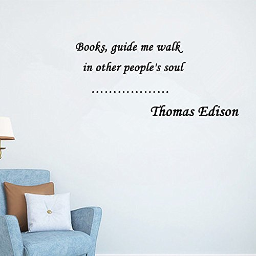 Home Decor Inspiration Wall Sticker Quotes Removable Books, guide me walk in other people's soul Thomas Edison Wall Decal Sticker Art Mural Home Décor - Nerd Find Glasses Can I Where
