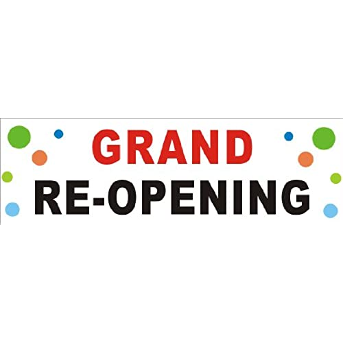 2ftX6ft GRAND RE-OPENING (Reopening) Banner Sign (Bubbles BG) free shipping