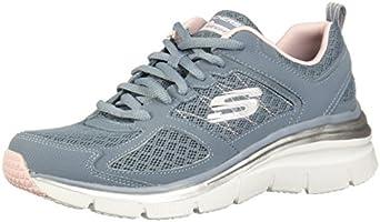 SKECHERS 12713 Zapatillas de Deporte para Mujer, color Azul/Gris, 25