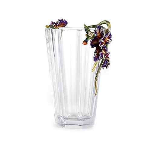 Enameled Glass Vase (RORO Wedding Gift, Enameled and Jeweled Bohemian Crystal Vase, Happiness Iric Series, Romantic French Style, Swarovski Decoration, Luxury Home Accessories)
