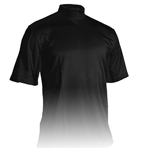 Monterey Club Mens Dry Swing Weave Texture Solid Mock Neck Shirt #3295 (Black, Medium) Dri Fit Mock Neck Shirt