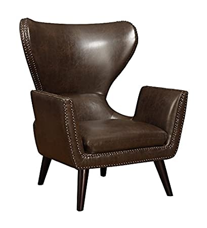 Admirable Coaster Transitional Dark Brown Faux Leather Accent Chair Theyellowbook Wood Chair Design Ideas Theyellowbookinfo