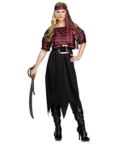 Fun World Adult Womens Classic Pirate Halloween Costume,One Size Fits up to Size 14,Red/White Stripe/Black]()