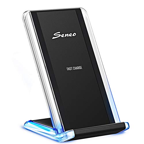 Seneo [Gen-2] 7.5W Stylish Qi Fast Wireless Charger Stand Compatible with iPhone Xs/iPhone Xs Max/iPhone XR/iPhone X/8/8 Plus, 10W for Samsung Galaxy Note 9/8/5/S9+/S9, 5W for Others (No AC Adapter) ()