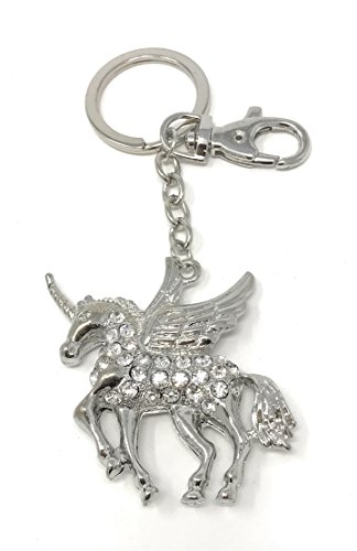 Value Arts Bejeweled Pegasus Unicorn Key Chain, 5 Inches Long