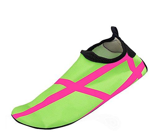 Himal Wasserschuhe Für Frauen Männer Wasser Socken Wasserdichte Aqua Socken Schwimmen Schuhe Für Beach Volleyball Sport Übung Schuhe Aktive Schuhe Erwachsene C3 Pink-grün-Streifen