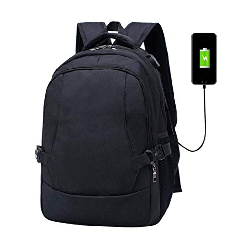 Price comparison product image Outsta Multifunction USB Charging Oxford Backpack, Shoulder Bag Men's Casual Korean New Backpack Men's Bag Unisex Fashion Purse Waterproof Casual Solid Color with Bottle Side Pockets (Black)