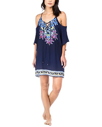 Trina Turk Women's Lotus Batik Off The Shoulder Tunic Cover-Up Midnight Small ()
