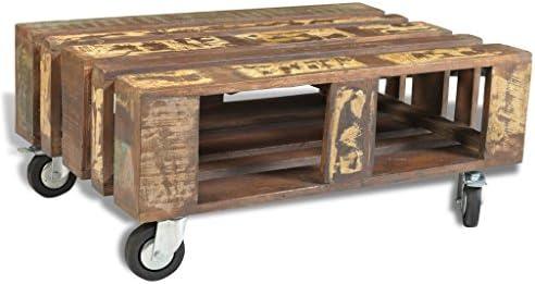 Koel Lingjiushopping koffietafel van gerecycled hout in antieke look met 4 rollen. Materiaal: massief gerecycled hout. Totale afmetingen: 80 x 56 x 34 cm (l x b x h). ful9WQX