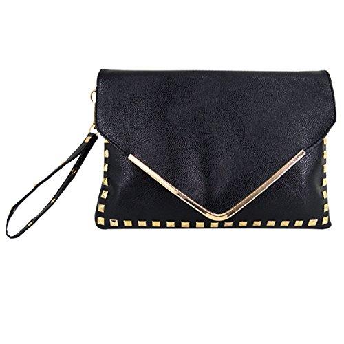 Rebecca Women Classic Rivets Handbag PU Leather Envelope Bag Portable Totes Evening Clutch Purse with Shoulder Strap (Black)