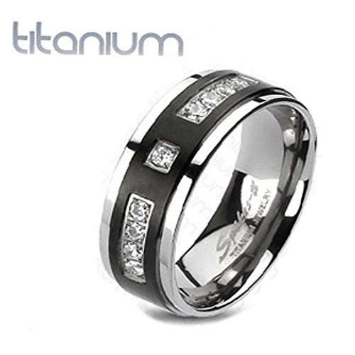 Solid Titanium Wedding Band Black IP Center with 9 CZs Mirror Polished Comfort Fit Band, Ring Width of 6MM