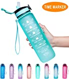 Giotto 32oz Large Leakproof BPA Free Drinking Water Bottle with Time Marker & Straw to Ensure You Drink Enough Water Throughout The Day for Fitness and Outdoor Enthusiasts-Mint Green