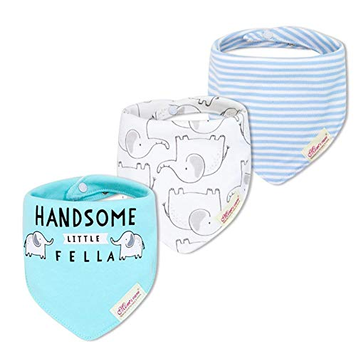 JN&LULU 3-Pack Newborn Baby Bibs Baby Bandana Drool Bibs for Drooling and Teething,Organic Cotton Bibs for Baby Shower Gifts (Blue Elephant) ()