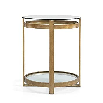 IQ Gold Side Table Antique Metal End Table with Glass Top and Bottom Shelf Includes ModHaus Living TM Pen