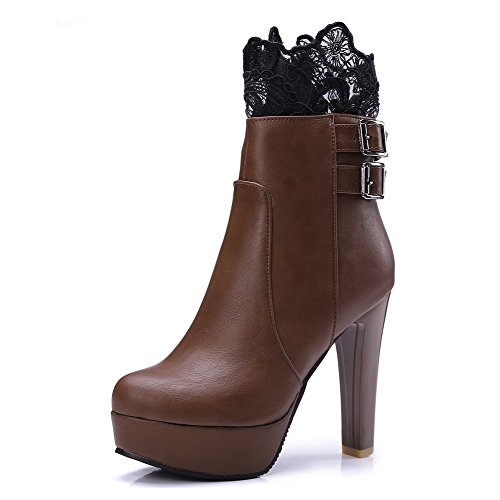 Boots Low Round Solid Material Women's Soft Brown Closed Heels Toe Top Odomolor High tBxwqPp0gB
