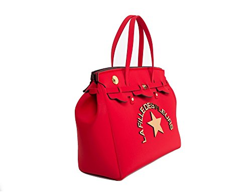 Shopping bag in neoprene LA FILLE DES FLEURS BORSA big jackie red 36x42x17