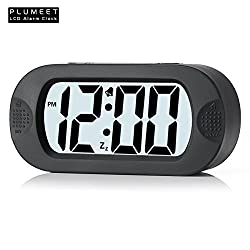 Plumeet Digital Large LCD Easy Setting Travel Alarm Clock with Snooze Good Backlight of 3 AAA Batteries Powered(Black)