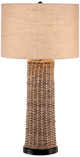 Woven Seagrass and Burlap Table Lamp (Woven Style Table Lamps)