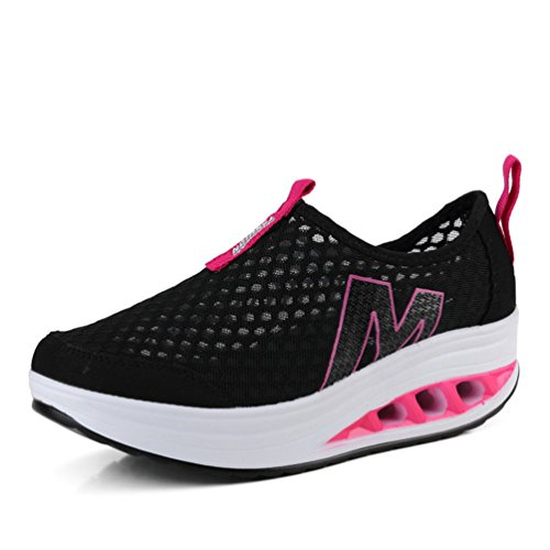 Jitian Wedge Baskets Noir Mode Plate Respirant Léger Athletic Casual Sport Chaussures Femmes forme rH641r