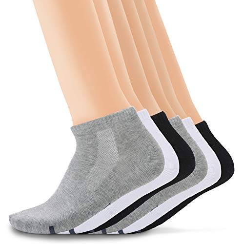 Camel Crown Mens Crew Socks Athletic Sock Ankle Sock Cotton Low Cut Non-slip Sweat-absorbent Antibacterial 6 Pairs