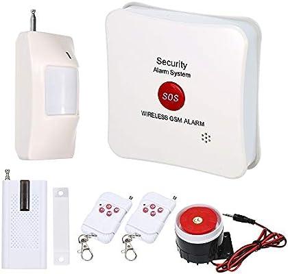 OWSOO Sistema de Alarma Inalámbrico gsm SMS SOS Llamada Alarma de Marcación Automática con PIR Detector de Movimiento Kit de Sensor de Puerta Control Remoto ...