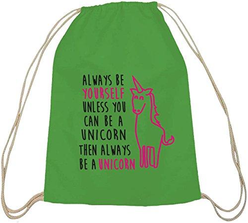 Lustiger natur Turnbeutel von Shirtstreet24 mit Always Be A Unicorn Aufdruck grün natur