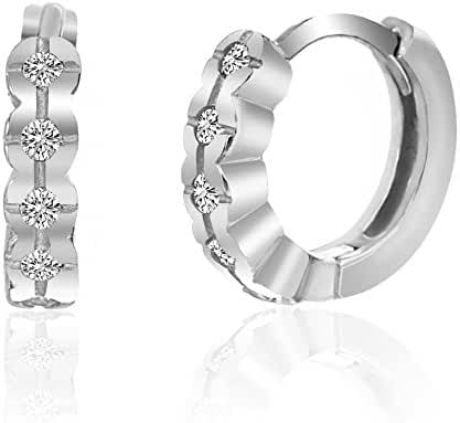 CLEARANCE 18K White Gold Over Sterling Silver Cubic Zirconia Huggie Hoop Earrings