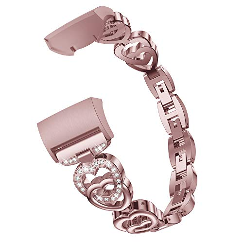 Wenicaca Bling Bands for Fitbit Charge 3,Women Man Stainless Steel Metal Jewelry Bracelet Bangle Wristband.Rose Pink ()