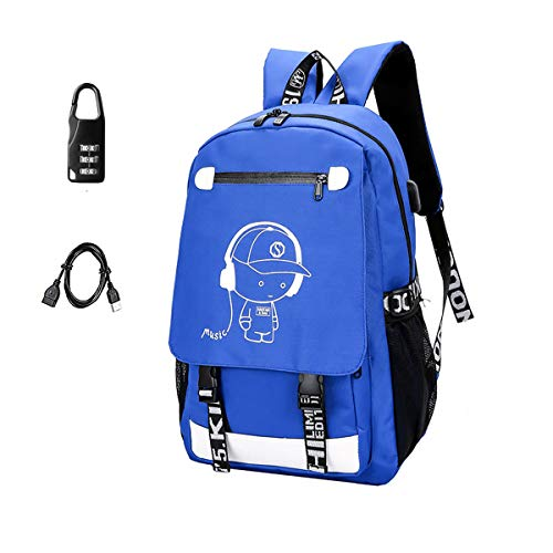 Anime Backpack Luminous Backpack Boys School Backpack Noctilucent School Bags Boys Bookbags for High School USB Chargeing port&anti-theft Daybag (Music 2) (Best Music In Anime)