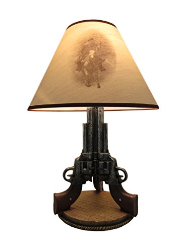 Old West Triple Six Shooter Revolver Table Lamp -