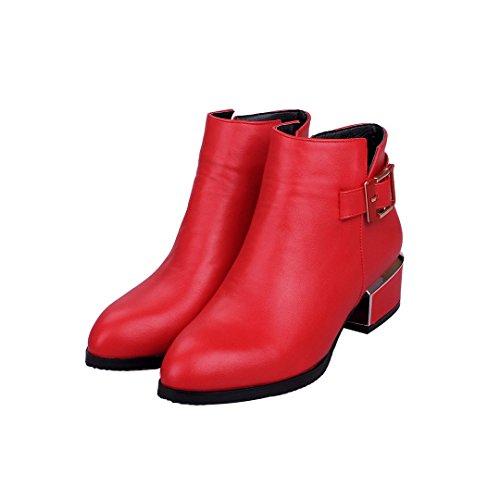 Enmayer Vrouwen Pu Materiaal Lage Hakken Britse Stijl Retro Gesp Puntschoen Martin Laarzen Rood # 21