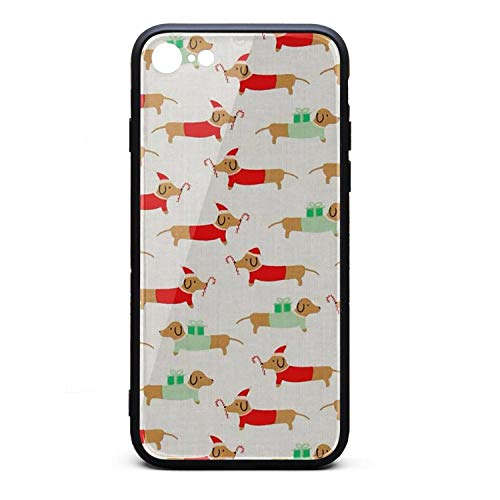 Christmas Darlings Dachshunds Cool iPhone 8 Case,iPhone 7 Case Shock-Absorption Flexible Soft Rubber TPU Bumper/Anti-Finger/Anti-Scratch/Phone Case for iPhone 8 Case/iPhone 7 Case