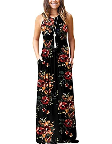 5366c431 Women's Summer Casual Floral Sleeveless Loose Plain Long Maxi Dress with  Pockets