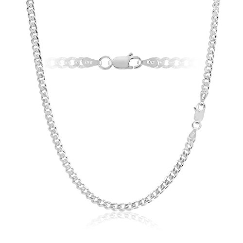 - Men's 3.5mm Sterling Silver Curb Link Chain Necklace Cuban Made in Italy 24 inch