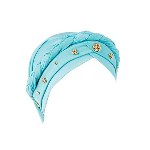 BCDshop Women Beading Braid India Hats Muslim Cancer Chemo Beanie Turban Wrap Cap (Sky Blue)