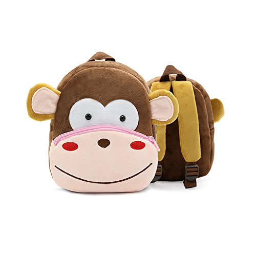 (New Toddler's Backpack,Toddler's Mini School Bags Cartoon Cute Animal Plush Backpack for Kids Age 1-5Years (monkey))