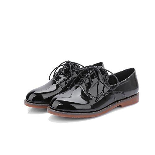 Unie Talon Plat Couleur à Lacet Femme VogueZone009 Noir Bas Rond Chaussures à Verni OUaYUqEP
