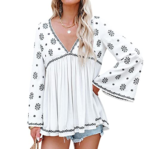 Women Graphic Print Embroidered Ruching Tunic Trumpet Sleeve V Neck Blouse Top White