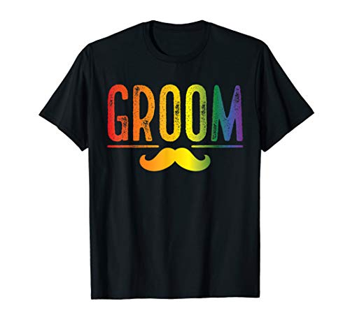 Mens Bachelor Party Shirt Rainbow Gay Pride Groom Moustache - White Marriage Gay T-shirt