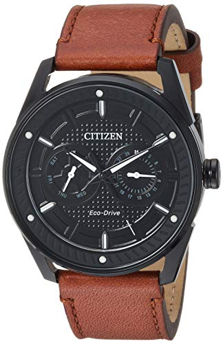 Citizen Men's Drive Stainless Steel Japanese-Quartz Watch with Leather Calfskin Strap, Brown, 22.2 (Model: BU4025-08E) ()