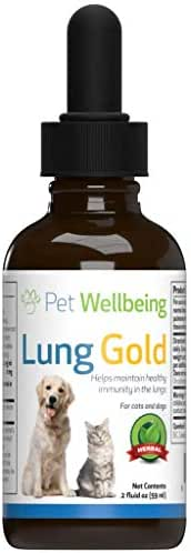 Pet Wellbeing - Lung Gold for Cats and Dogs - Natural Breathing support for Felines - 2oz (59ml)