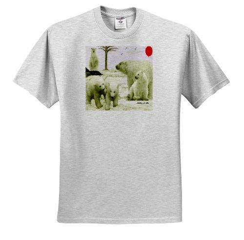 SmudgeArt Wildlife Designs - Polar Bear Family - T-Shirts - Youth Birch-Gray-T-Shirt Large(14-16) (ts_15764_30) ()